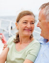 Senior woman on a sea voyage with her husband Stock Image