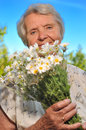 Senior woman smelling flowers. Royalty Free Stock Photo