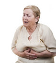 Senior woman stomach ache isolated Stock Image