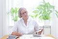 Senior woman  tax declaration forms Royalty Free Stock Photo