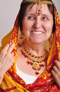 Senior woman in traditional indian clothing and jeweleries portrait of a Royalty Free Stock Photography