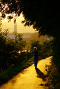 Senior woman walking into sunset silhouette of single along sunny path under trees with bridge in the distance Stock Photos