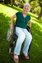 Senior woman with wheelchair Royalty Free Stock Photo