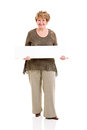 Senior woman white board cheerful holding on background Stock Image
