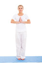 Senior woman yoga fit on white in studio Stock Photos