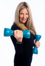 Senior workout woman working out with dumbbell weights Royalty Free Stock Photography