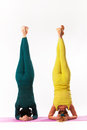 Senior and younger woman practice yoga women women headstand pose studio shot Royalty Free Stock Photo