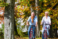 Seniors on bicycles having tour in park