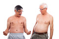 Seniors compare body shape Stock Photos