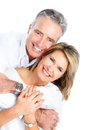 Seniors couple happy in love healthy teeth isolated over white background Stock Images