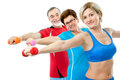 Seniors doing fitness exercises Stock Image