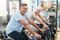 Seniors On Exercise Bikes In S...