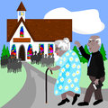 Seniors going to church two on their way the local Royalty Free Stock Photography