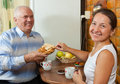 Seniors having breakfast Stock Photography