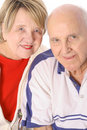 Seniors together isolated on white vertical Royalty Free Stock Photos