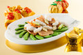 Sensations sauteed mashed cuttlefish with sugar peas fungus Royalty Free Stock Photo
