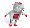Sensible technology cartoon robot with heart and feelings Royalty Free Stock Image
