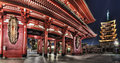 Senso ji temple asakusa tokyo japan wide angle view of hozo mon gate and stories pagoda of the taken at night in the district of Royalty Free Stock Images