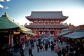 Sensoji temple tokyo december crowds of unidentified visitors to the historic senso ji in s asakusa the giant red lantern in the Royalty Free Stock Images
