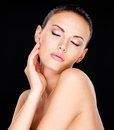 Sensual adult pretty woman with closed eye photo of a over black background Royalty Free Stock Photos