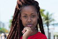 Sensual african woman with dreadlocks in the city Royalty Free Stock Photo