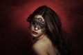 Sensual beautiful young woman lace mask studio shot Stock Photos