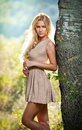 Sensual blonde female on field in sexy short dress Royalty Free Stock Photography