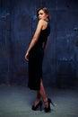 Sensual brunette in sling velvet dress looking over shoulder Royalty Free Stock Photo