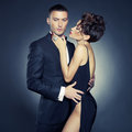 Sensual couple fashion photo of sexy elegant in the tender passion Royalty Free Stock Images