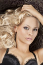 Sensual girl with blond curly hair Royalty Free Stock Photos