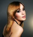 Sensual girl straight hair beautiful makeup black background Stock Image