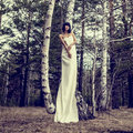 Sensual girl in the woods Royalty Free Stock Images