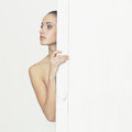 Sensual lady in classical interior fashion art photo of young Royalty Free Stock Photo