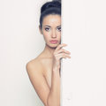Sensual lady in classical interior fashion art photo of young Stock Images