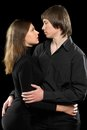 Sensual loving couple portrait of a young isolated Stock Photography