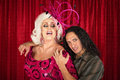 Sensual odd couple men in drag with handsome boyfriend Stock Photos
