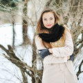 Sensual portrait of a beautiful girl in winter outdoor outdoors Royalty Free Stock Image