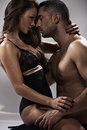 Sensual pose attractive young couple Royalty Free Stock Images