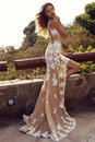Sensual woman with blond hair in luxurious lace dress fashion outdoor photo of beautiful posing summer park Stock Images