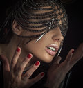 Sensual woman with chain mask lady Stock Image