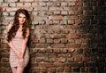 Sensual Woman On Old Brick Wal...