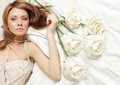 Sensual woman with rose Stock Photo