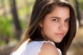 Sensual young woman with beautiful eyes posit outdoors close up portrait of a Royalty Free Stock Photos