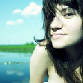 Sensual young woman on lake Royalty Free Stock Photo