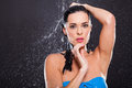 Sensual young woman posing water splashes black background Royalty Free Stock Photos