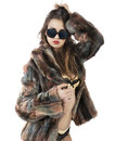 Sensuality woman beautiful in fur shows her Stock Photo
