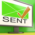 Sent envelope on monitor showing delivered messages or correspondence Stock Photos