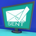 Sent envelope on monitor shows outbox or outgoing messages Royalty Free Stock Photos