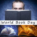 Sentence world book day, celebrated each year on April 23,books on wooden background. White man hides his face behind a book. Stu Royalty Free Stock Photo