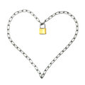 Sentimental protection chain in the shape of a heart locked with a padlock Stock Photography